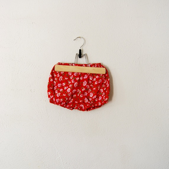 vintage baby girl red and pink flower bloomers
