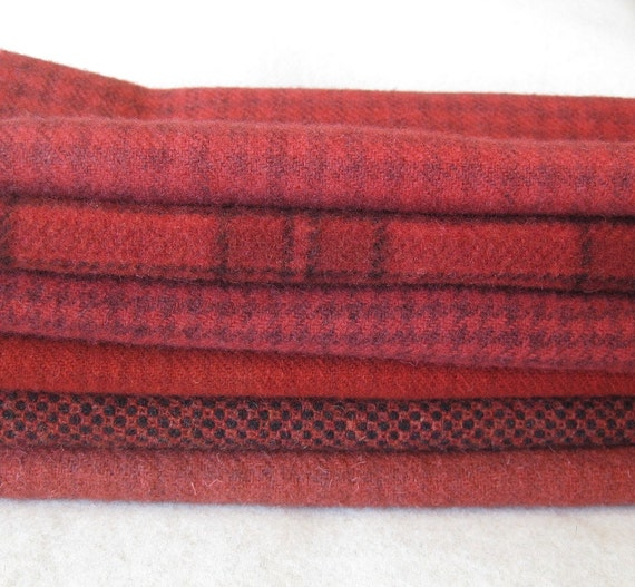 Hand Dyed Felted Wool in a Beautiful Collection of Country Red Tones a Perfect Rug Hooking and Applique Wool 2851