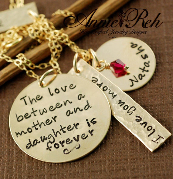 The Love between a Mother and Daughter is Forever Necklace - Hand Stamped Jewelry - Personalized Jewelry - I Love you More - Gift for Mom