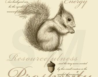 Squirrel and Acorn print