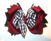 Maroon Hair Bow, Burgundy Bow, Gingham Checks Hairbow, Large Boutique Hair Bow, Baby Headband, Toddler Hair Clips, checked Bow, Gingham Bow