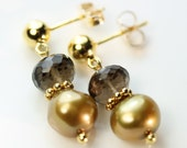 Golden Pearls with Smoky Quartz Post and Ball ear studs in gold vermeil, Dangle Stud earrings, Free shipping in Canada, golden pearl earings