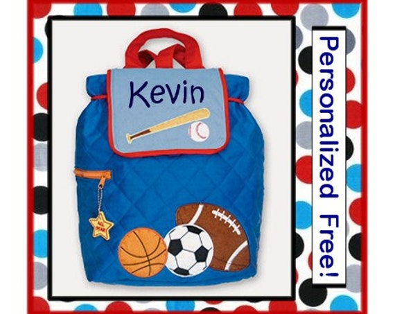 Personalized Toddler SPORTS Quilted BACKPACK- Preschool, Day Care, Diaper Bag