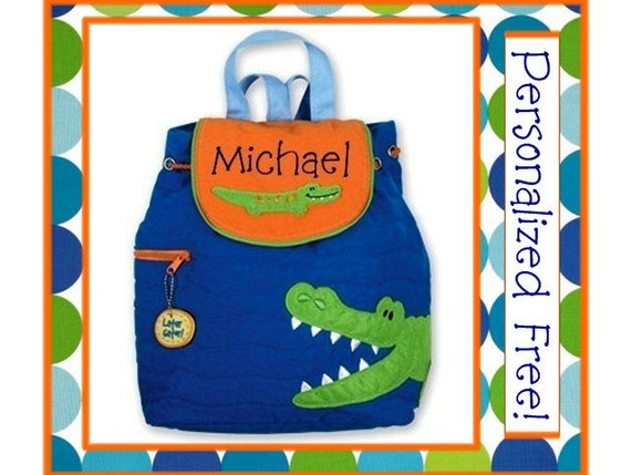SALE Personalized Toddler ALLIGATOR Quilted Backpack- Preschool, Book Bag