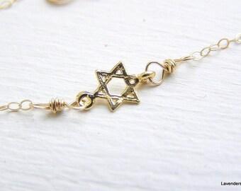 Star Of David Bracelet , Tiny Magen David Bracelet , Adjustable , Gold Bracelet , 14K Gold Fill