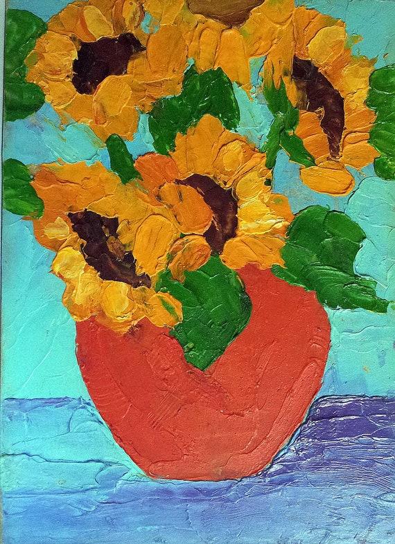 Impressionist Still Life GARDEN SUNFLOWERS  Lynne French Art 5x7 Original Oil Painting
