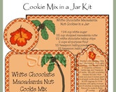 Make your own White Chocolate Macadamia Nut Cookie Mix in a Jar - Labels, Tag and Recipe - Digital Printable Kit - Immediate Download
