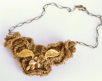 Knitted Statement Necklace with Vintage Accents