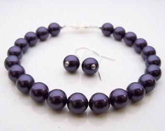 Pearl bracelet purple Swarovski pearl bracelet and earrings 8mm round deep purple pearls and silver plated filigree clasp