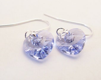Swarovski crystal heart lavender purple earrings on silver plated surgical steel earwires for sensitive ears