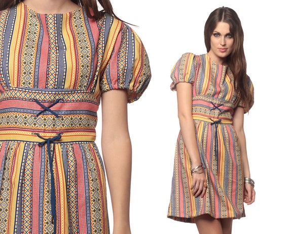 Puff Sleeve Dress 60s Mini Peasant Lace Up Hippie Boho 70s Empire Waist Striped Aztec Print 1970s Bohemian Rainbow Plus Size Extra Large XL