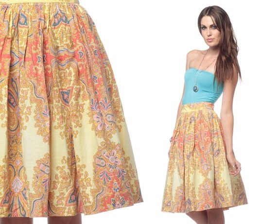 Boho Hippie Skirt Midi 1970s Ethnic Vintage 70s Bohemian Golden Yellow Paisley Print Cotton High Waisted Full Skirt Extra Small XS