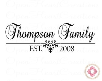 Family Name Wall Decal with Established Date - Personalized Vinyl Wall Decal for Bedroom Entry Way Living Home Decor 12h x 36w PD0033