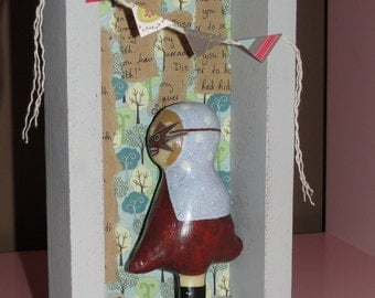 Little Red Riding Wolf.........the masquerade part 1 mixed media art doll shadow box