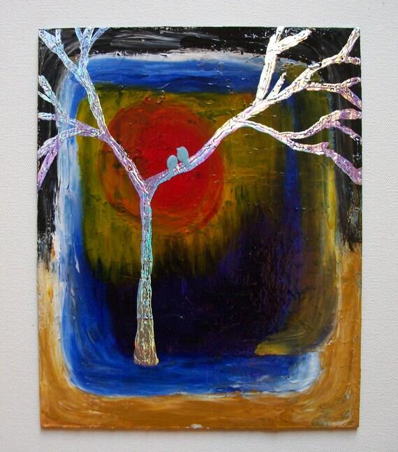 Tree Original Abstract Modern Acrylic Handpainted Beautiful Colors Texture Glossy Finish Rainbow Foil 8x10 Art Board
