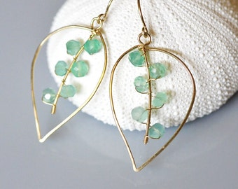 Green Onyx Leaf Earrings 14k Gold Filled Wire Wrapped - Hammer Flattened Wire - Hand Forged - Hand Fabricated
