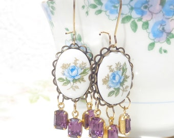 Vintage Jewel and Cameo Earrings - Blue Rose Earrings - Purple Amethyst Earrings - Whimsical - Bridal - Bridesmaid