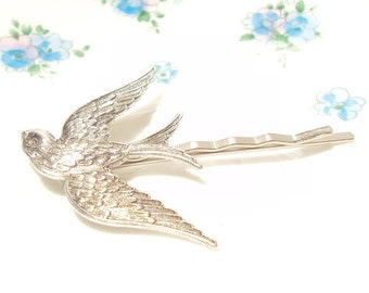 Sterling Silver Plated Sparrow Bobby Pin - Sparrow Hair Pin - Silver Bird - Woodland Collection - Nature - Bridal