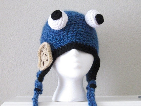 Blue Bug Eyed Monster with Cookie Hat Child Cap Crochet Crocheted Handmade Beanie