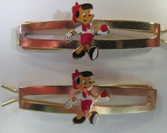 Vintage Disney Pinocchio Gold-Tone Barrette Pair