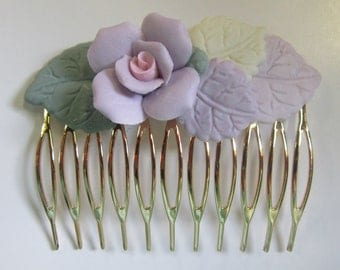 Vintage Gold Tone Hair Comb with Pastel Ceramic Flowers (Lavender Rose with Pink Center)