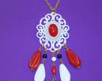 Vintage 60s Mod Red White and Blue Medallion Necklace