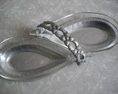 Vintage Hammered Aluminum Glass Condiment Serving Dish