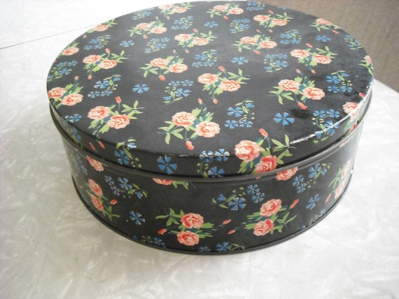 Vintage Cookie Tin Floral Rose Shabby Chic Cottage