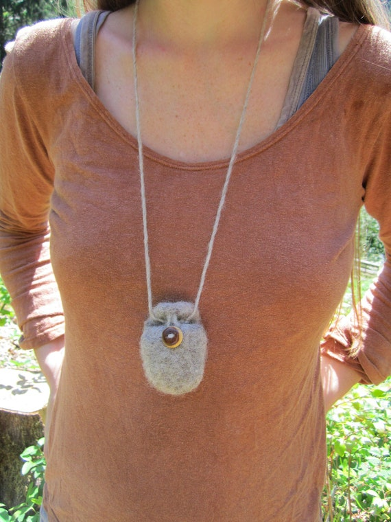 Felted Wool Pouch- Woodland Wool Pouch with Handmade Wooden Button in Yew Wood