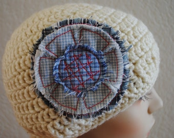 Blue Plaid Cotton Flower Hair Clip - Hat Clip