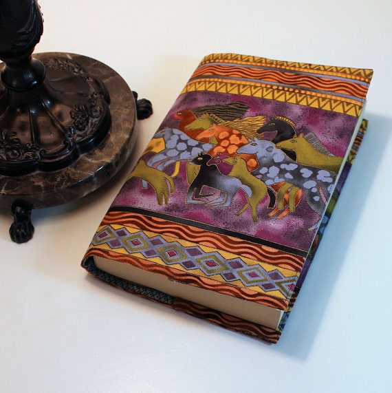 Fabric Paperback Book Cover - Laurel Burch Mythical Horses Large Trade Size
