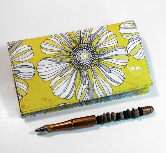 Yellow Fabric Checkbook Cover for Duplicate Checks with Pen Holder - Eclipse