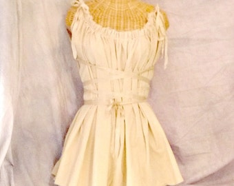 Ivory Gretel Dress / Ren Faire / Knee Length Custom Corset Ribbon Tie Belt Tattered Womens by SavoyFaire