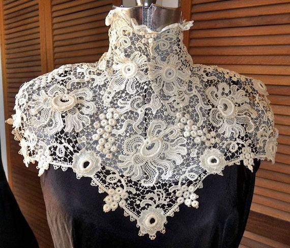 Late Victorian Early Edwardian Downton Abbey High Collar Irish