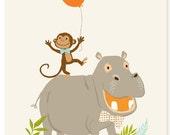 Monkey and Hippo (8x10) art print - nursery art for children