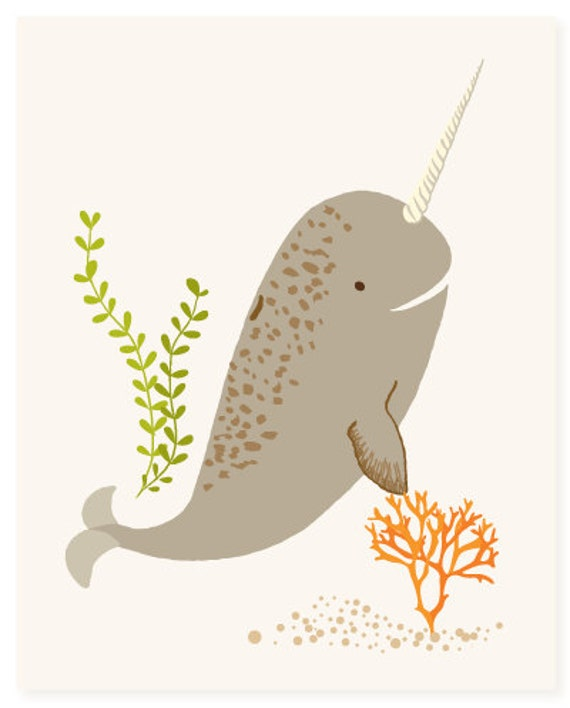 Narwhal Wall Art Ocean Art For Kids Nursery Wall Decor For
