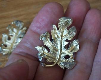 Vintage Sarah Coventry Oak leaf Earrings. Sarah Cov. Marked.
