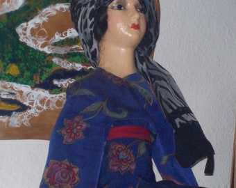 Antique Boudoir Doll, Composition,  Some Crazing. Some repairs done.