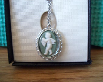 Vintage Hoffman WedgeWood Green Pendant Necklace.  2 sided Pendant Cameo Cherob and girl.