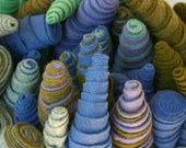 Lavender, Green and Blue Striped Spiral Wool Soft Sculpture Urchin