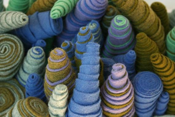 Lavender, Green and Blue Striped Spiral Wool Soft Sculpture Urchin