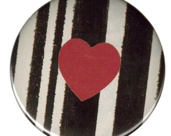 Heart and Stripes- Pinback Button 2 1/4 inches