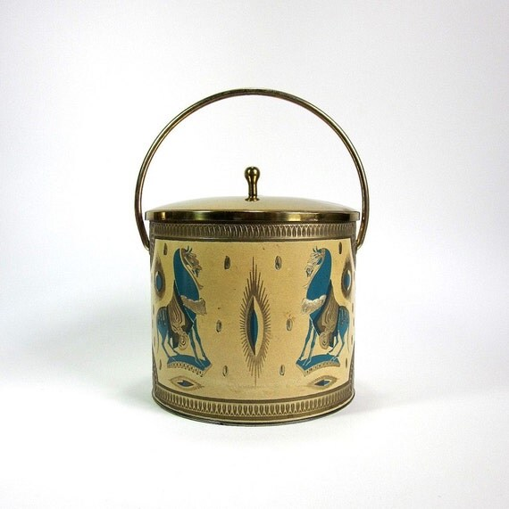 FRED PRESS Gold and Teal Covered Ice Bucket with Handle 60s