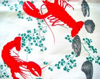 Wilendur Lobster Vintage Tablecloth Fabric