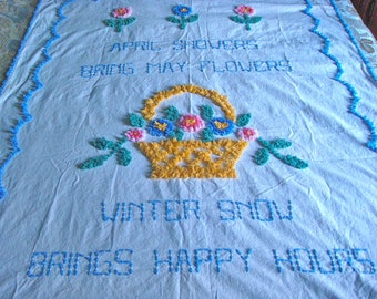 Rare and Beautiful Floral Vintage Child Cotton Chenille Bedspread, 64x46 Inche