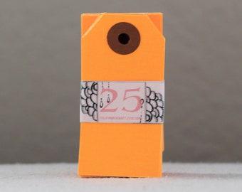 Blank Gift Tags - Mini - set of 25 in Neon Orange
