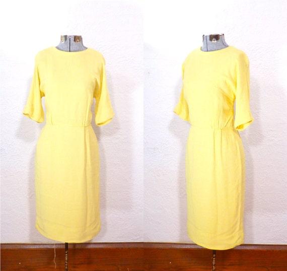 1950s dress/ 50s wiggle dress/  canary yellow/ rayon crepe