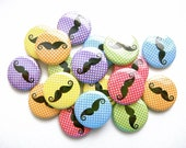 Mustache Love Rainbows and Polka Dots (Set of 18) - Pinback Buttons - 1 inch 25 mm - Mustache Buttons