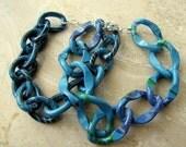 Chunky Chain Bracelets, Set of 2 - Turquoise Blue Colorful Bracelet Set - Turquoise Sunrise