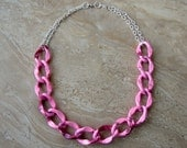 Chain Necklace - Pink Chunky Chain, Oversized Chain Links - Stellar Statement Necklace No. 12 (Ready to Ship)
